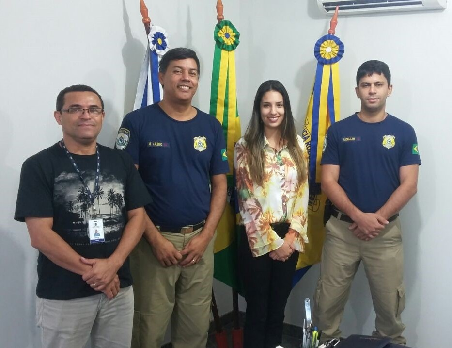 Edilez Brito - assessor de Comunicação da PRF-TO; Marcos Valério Soares - superintendente da PRF-TO; Camila Barreto - assessora de Comunicação do SindSeg; Guilherme Francisco - Núcleo de Policiamento da PRF-TO